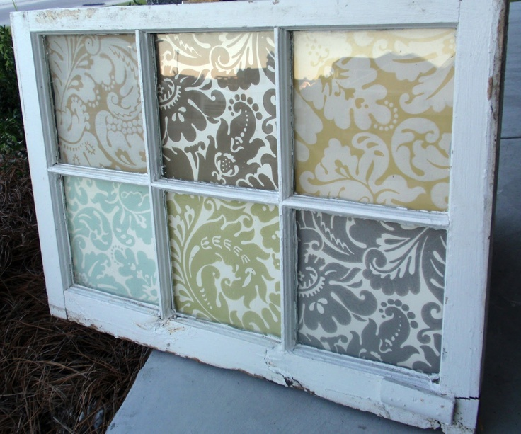 Would be nice in the downstairs bath... Vintage window with wallpaper samples, maybe scrapbook paper even?