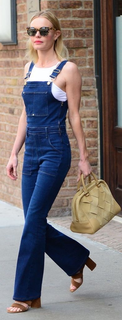 We're obsessed with Kate Bosworth's Frame Denim overalls, and that Loewe Amazona 75 Woven Suede Satchel doesn't hurt either!