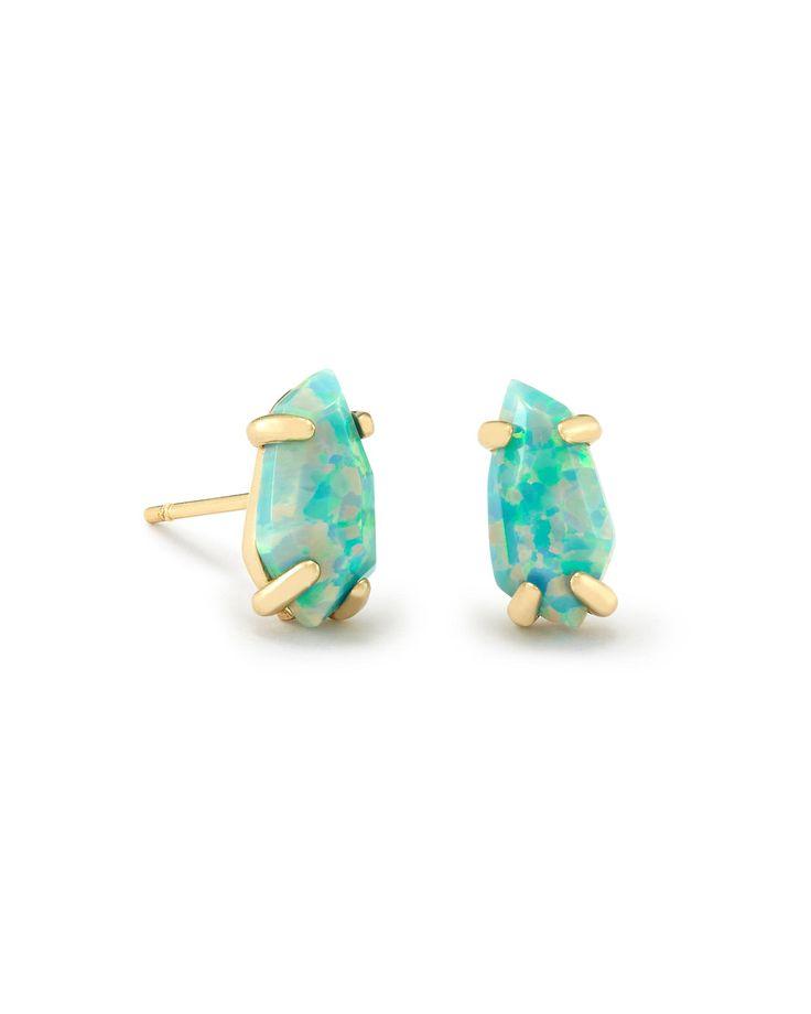 Jillian Stud Earrings in Aqua Kyocera Opal - Kendra Scott Jewelry