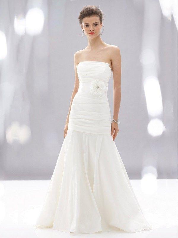 Princess Strapless Neckline Sweep Train Organza Bridal Wear With Hand-Made Flower