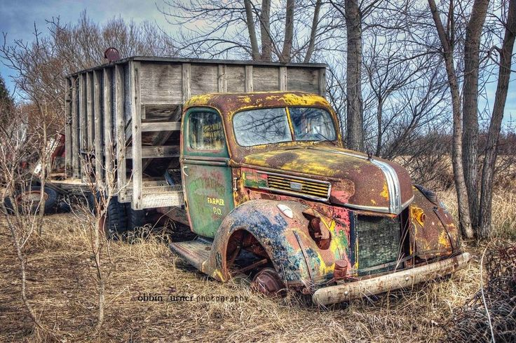 Picture Old Ford grain truck, retired to the scrap yard...but it's spirit shines through!