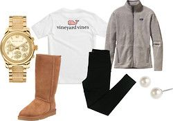 Perfect comfy outfit for school. Fleece, leggings, uggs, and pearls