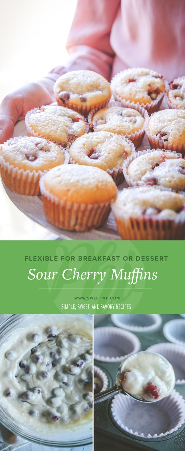 Perfect for breakfast or a sweet treat, these sour cherry muffins are perfect