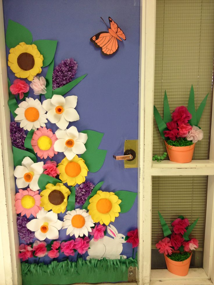 Classroom Window Decor ~ Spring door contest winner class doors decorations