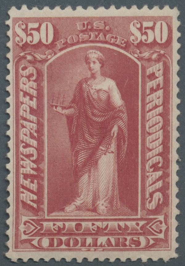United States - Newspaper stamps 1895, 50 $ dull rose without watermark, mint LH, very good perforation and centering, VF, Scott 2,750,-    Dealer  Gärtner Christoph Auktionshaus    Auction  Minimum Bid:  500.00EUR