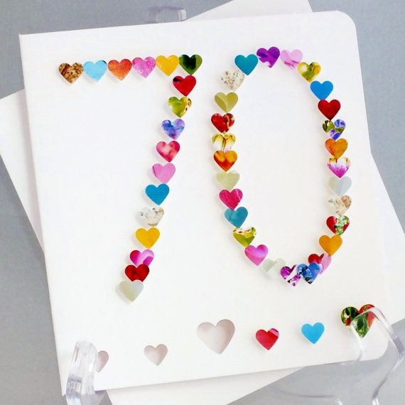 70th Birthday Card With Heart Design Personalised Age 70 For Mom Mum Or Any Name Handmade Custom Greetings BHA70