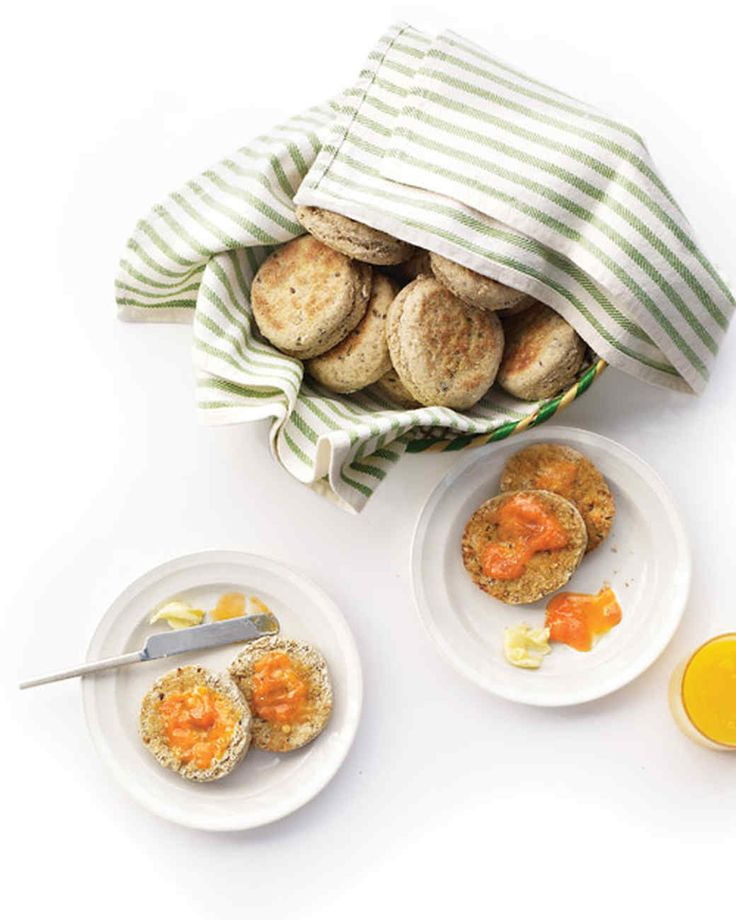 These English muffins are made with a mix of whole-wheat and white flours, along with rolled oats and a sprinkling of flaxseed and caraway seeds. Low-fat buttermilk gives the muffins a slight tang and a light texture. But unlike whole-milk dairy products, it contains very little saturated fat.