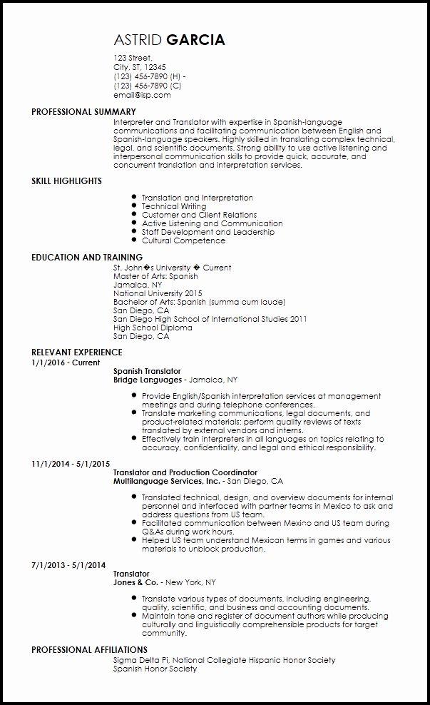 Resume Language Skills Example Fresh Free Entry Level Resume Translator Templates In 2020 Entry Level Resume Job Resume Examples Resume Examples