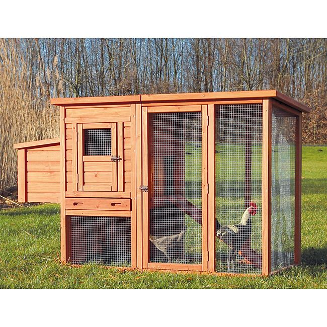 Enjoy raising chickens at home with this handsome wooden chicken coop with run. This two-story chicken coop features a chicken-wire fenced yard for your chickens to move about in and has a lift-off room that allows you to access eggs easily.