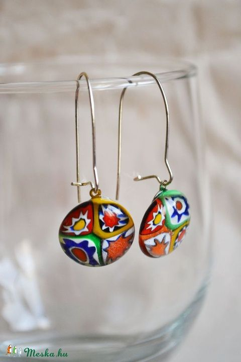 Millefiori fused glass earrings #glassfusing #fusedglass #handmade #üvegékszer #fülbevaló