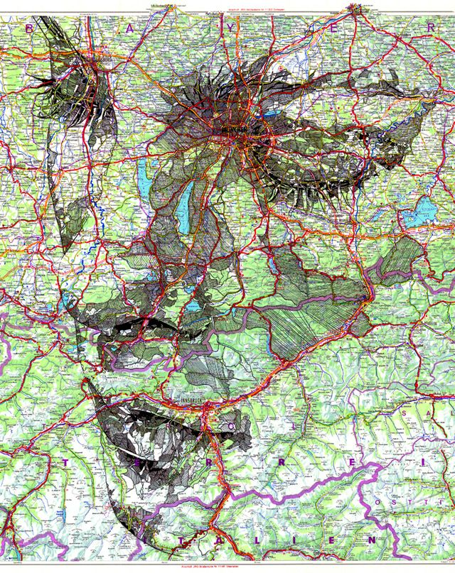 ink portrait on a road map of germany. by ed fairburn