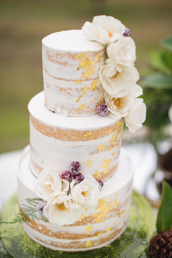 cake with gold foil - photo by Janeane Marie Photography http://ruffledblog.com/christmas-tree-farm-inspiration-shoot