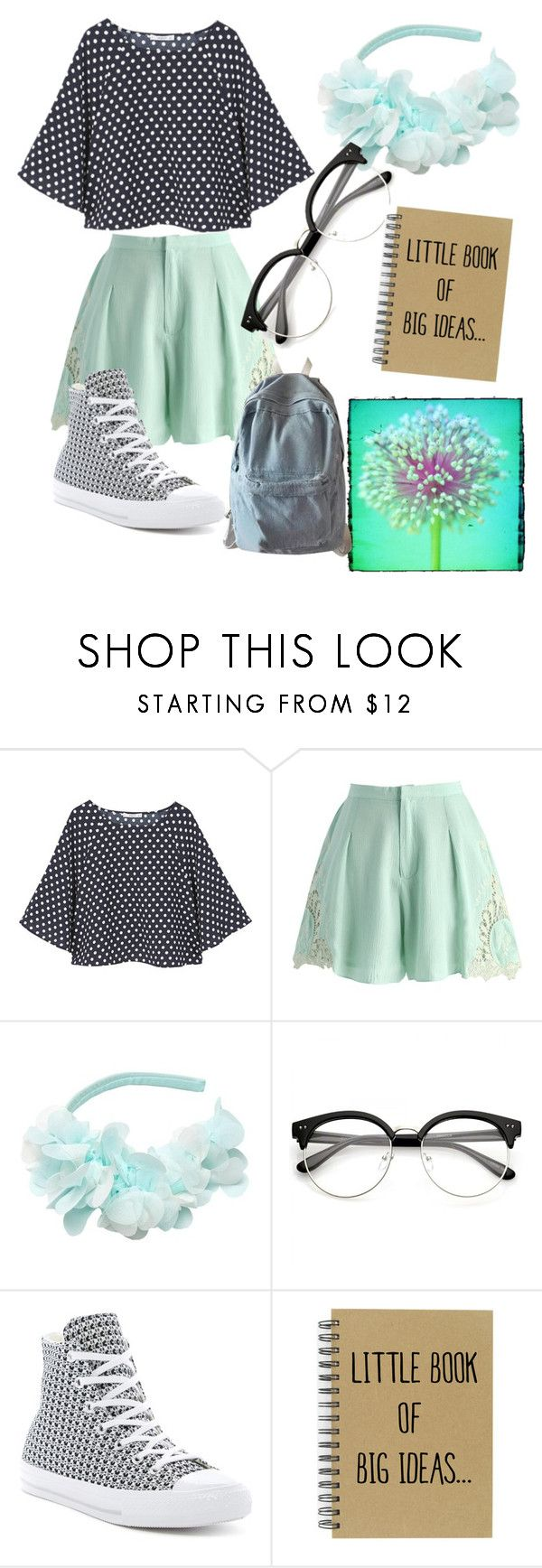 """Minty Nerd"" by chloelemaster on Polyvore featuring MANGO, Chicwish, Leny Tomy Factory, Converse and WithChic"