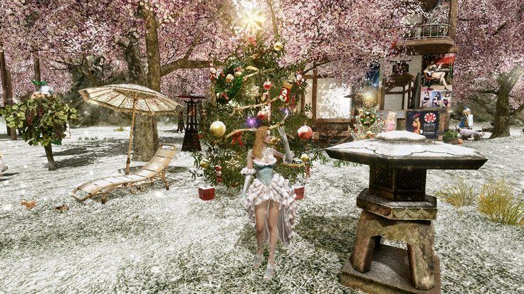 아키에이지... 2014년 크리스마스 X-mars 이벤트의 눈내리는날과 무사귀환 연회복  (ArcheAge)