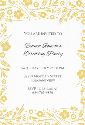 """Wildflower Borders"" printable invitation template. Customize, add text and photos. Print or ..."