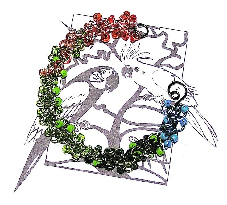 Peach-faced Lovebird Chainmaille Bracelet - Enchanted Moon