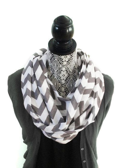 Jersey Knit Fabric Infinity Scarf - Grey Chevron Pattern on White - Cotton Jersey Fabric - Knit Infinity Scarf for Women