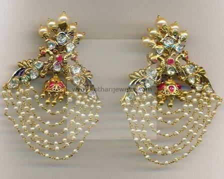 Gold Earrings, Gold Rings - 22Kt Cz Changeable Bridal Jhumki, 22Kt Bridal Long Uncut Jhumki, 22kt Kasu lakshmi uncut jhumki