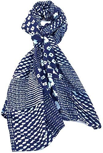 Enjoy exclusive for Women's All Season Scarf Warm Sun Protection Hand Weaved Indigo Dyed Natural Fiber Soft Touch Winter Scarf Women Men (#01) online   – Womens Scarves