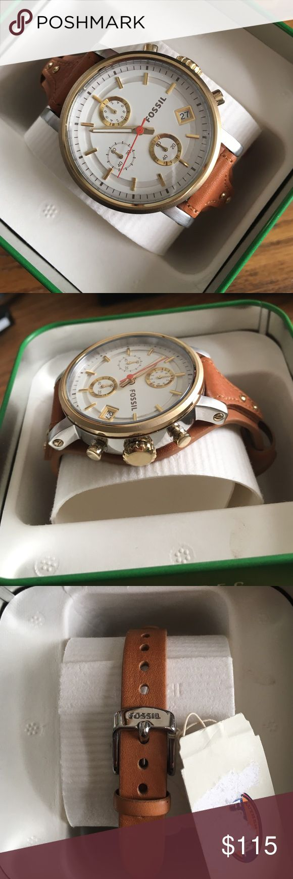 Fossil brown chronograph boyfriend watch NIBWT Fossil boyfriend watch with brown leather band. Buckle closure. Chronograph and date window on dial. Dial is gold tone and silver tone stainless steel. Case size 38mm. Style # ES3615. Open to offers but NO trades! New in box with tags attached! Fossil Accessories Watches