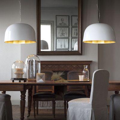 Oluce 1 Light Bowl Pendant Shade Color: White/Satin Copper