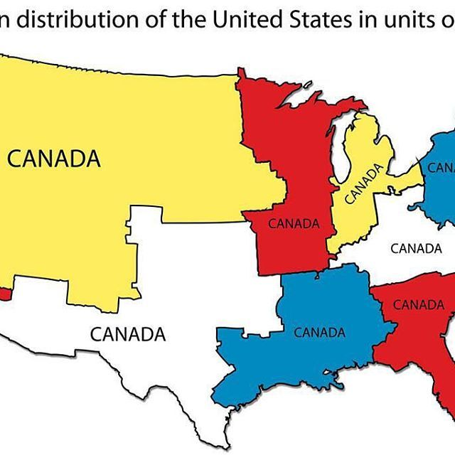 Population distribution of the Contiguous United States in units of Canada's. Once more because I like it so much. ➖ #map #maps #cartography #geography #topography #mapping #mappe #carte #mapa #karta #canada #us #usa #unitedstates #america #population #people #infographic #regions #units #canadian #demographics #statistics #statistic #distribution #density #canadas #comparison #candaians #americans