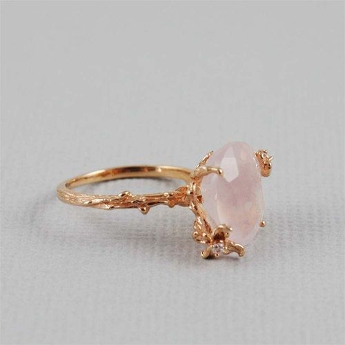 Unique Rose Quartz Ring by 4FireflyCollections on Etsy