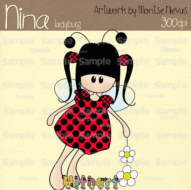 Nina dolls clipart, digital Illustration by Withart for scrapbooking, cardmaking and crafts. Spring, doll, ladybug, flowers. www.etsy.com/shop/withart