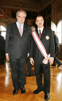 President Michel decorated with the Grand Cross of the Knightly Order, Special Class, pro Merito Melitensi, after it was conferred on him by His Highness Frà Matthew Festing