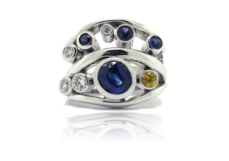 multi coloured sapphire ring - hand made- francis jewellers victoria bc