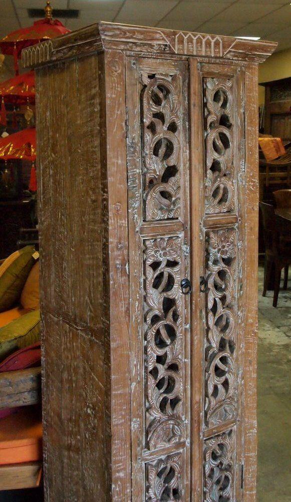 Antique Carved Panel Teak Cabinet Indonesia
