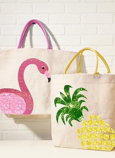 Simple fun cream canvas tote with sequin design and coloured handles in  pineapple or flamingo design. NO fastening at top, small inside pocket.  Perfect for the beach, shops or just hanging on a hook for colour! These  bags are big - I have 3 little monkeys and the bag happily holds towels and