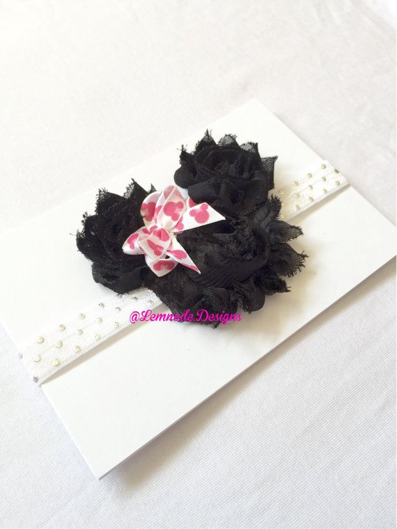 Minnie Mouse shabby chic headband by LemnadeDesigns on Etsy