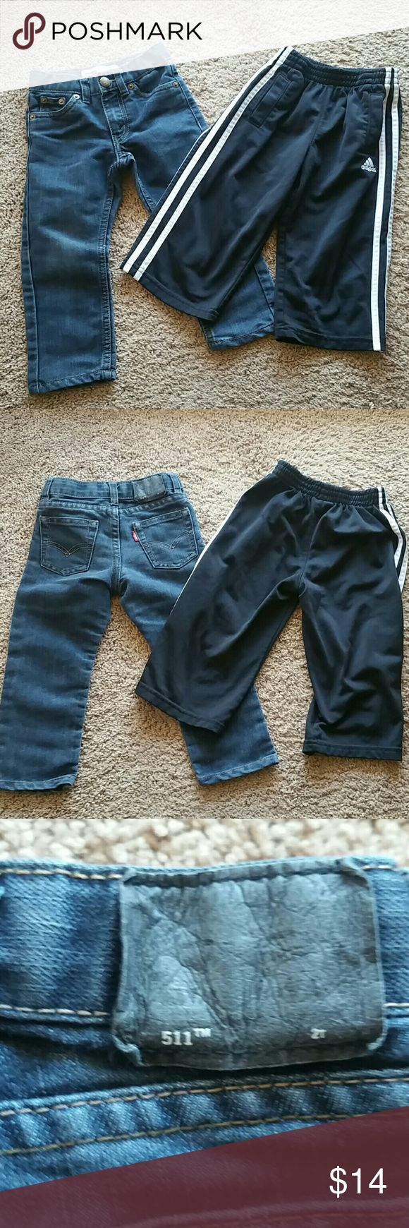 2 pc Levis and Adidas pants Levis 511 slim fit with waist adjusters, zip fly with 5 pocket styling.  Adidas have elastic waist and 2 pocket styling.  Pre owned, but in great condition.  Levis are dark wash denim. Please ask questions prior to purchase. Levis and Adidas Bottoms Casual