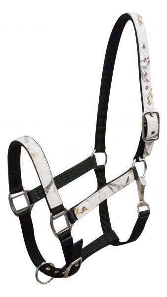 Dark Horse Tack is proud to offer... Showman ® Winter camo print overlay nylon halter. This halter features 2 ply nylon with winter camo print overlay on nose, cheeks and crown with nickel plated hard