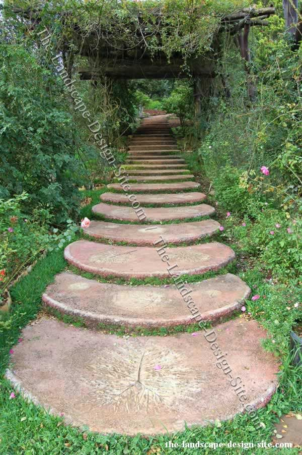 Creating steps and access in a garden design with a long for Paving designs for small garden path