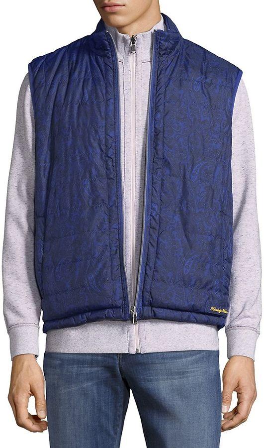 Robert Graham Men's Quilted Vest - Blue, Size xx-large