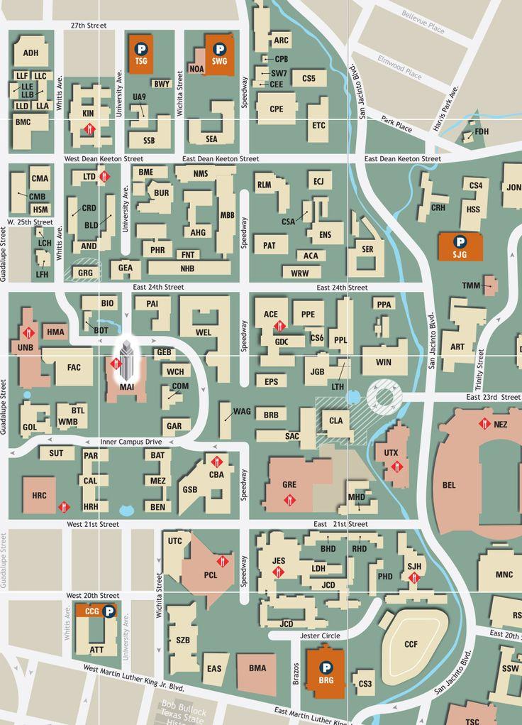 current UT campus map