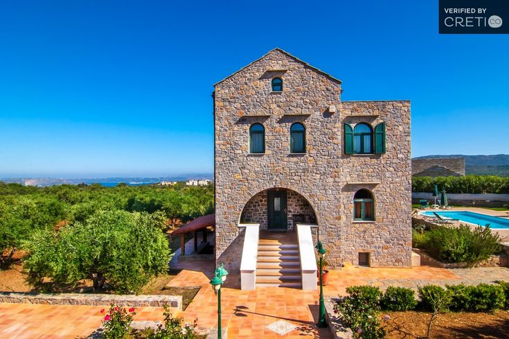 Elegant 3 bedroom stone house with a great view to Souda bay, Vamos | Cretico