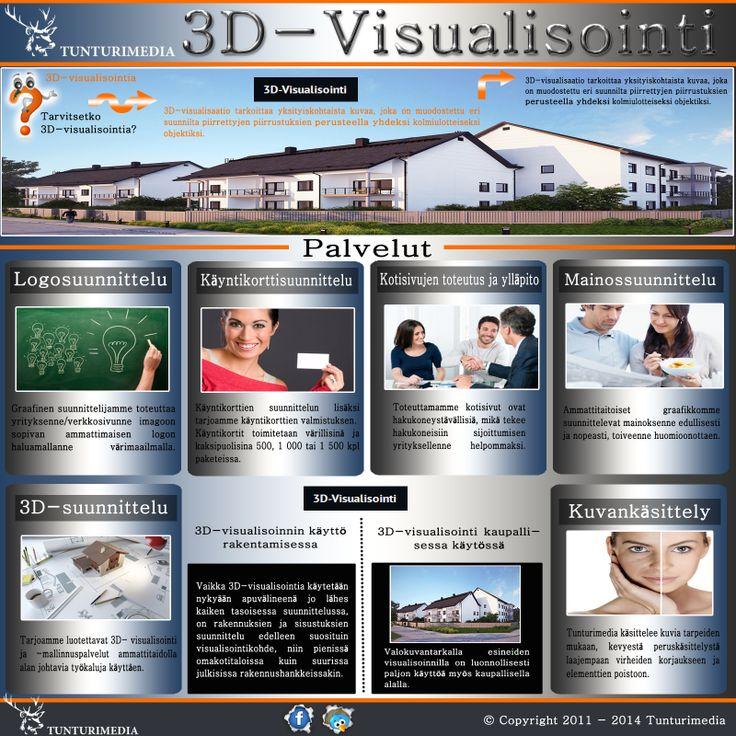 Vieraile sivustollamme http://tunturimedia.fi/3d-visualisointi/ lisätietoja 3D-Suunnittelu.3D-visualisointi palvelut ovat tärkein hyödyllisiä menetelmä nykypäivän rakennusalalla. Avulla näistä palveluista voit saada selkeä käsitys oman rakennuksen ennen varsinaisen rakentamisen. Lisäksi tarjoamme 3d-suunnittelu palveluja, jotka voivat auttaa sinua hahmottamaan oman rakennuksen selkeästi.