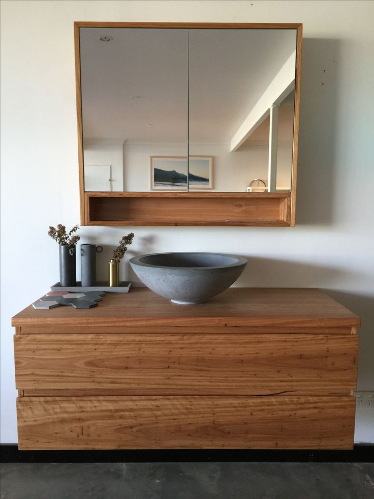 slabshapers black concrete vessel basin teamed with our loughlin furniture wall hung vanity on the central coast nsw