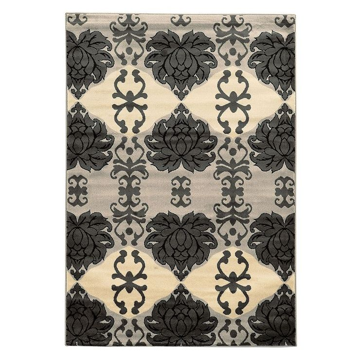 Linon Elegance Cybil Damask Rug, Grey