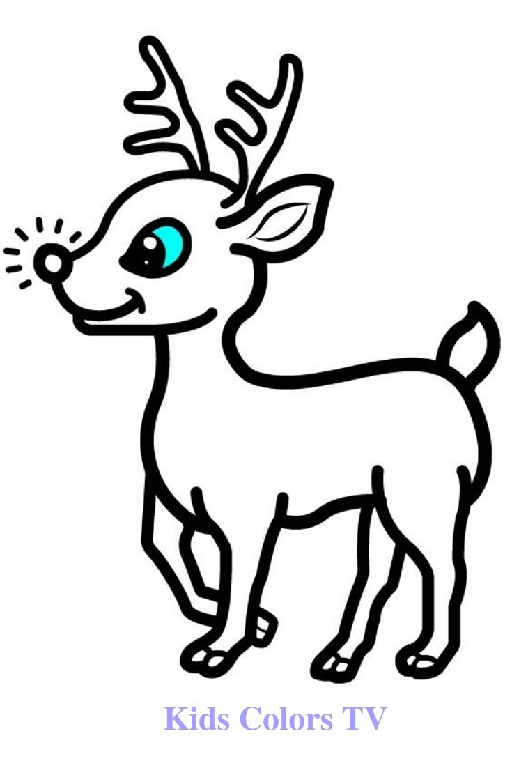 Glitter Cat And Deer Coloring And Drawing For Kids Toddlers Learns Colors With Deer Drawing Deer Drawing Deer Coloring Pages Learning Colors