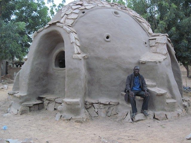 Earth House made from sand bags and clay! I've built these homes and they are amazing!