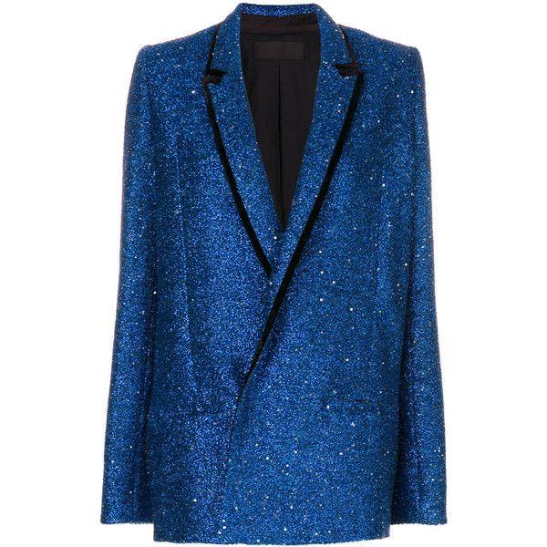 Haider Ackermann glitter blazer (131.690 RUB) ❤ liked on Polyvore featuring outerwear, jackets, blazers, blazer, blue, tops, glitter jacket, blue jackets, blazer jacket and blue blazers