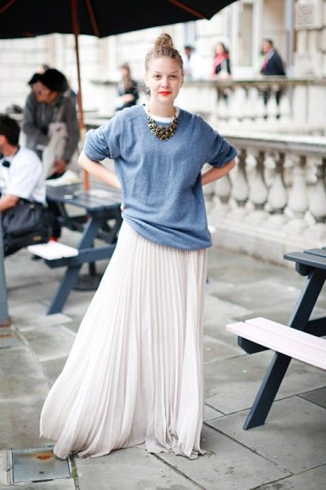 Hi floaty maxi skirt, lo slouchy sweater