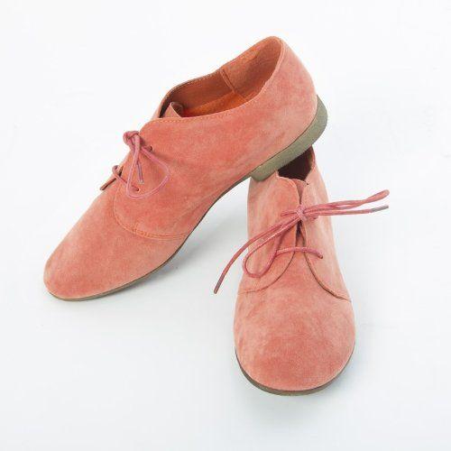 Breckelles Women's SANDY21 Ballet Lace Up Oxfords Ballerina Shoes Flat Sandals Loafer, Honey Suckle Pink Faux Suede