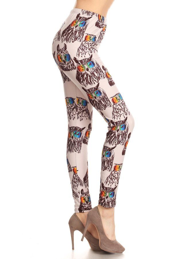 105f2d1cba9864 Softest Leggings you will ever wear! A stunning owl wearing rainbow glasses  on a creme background. Made from super soft 92% double brushed Polyester  and 8% ...