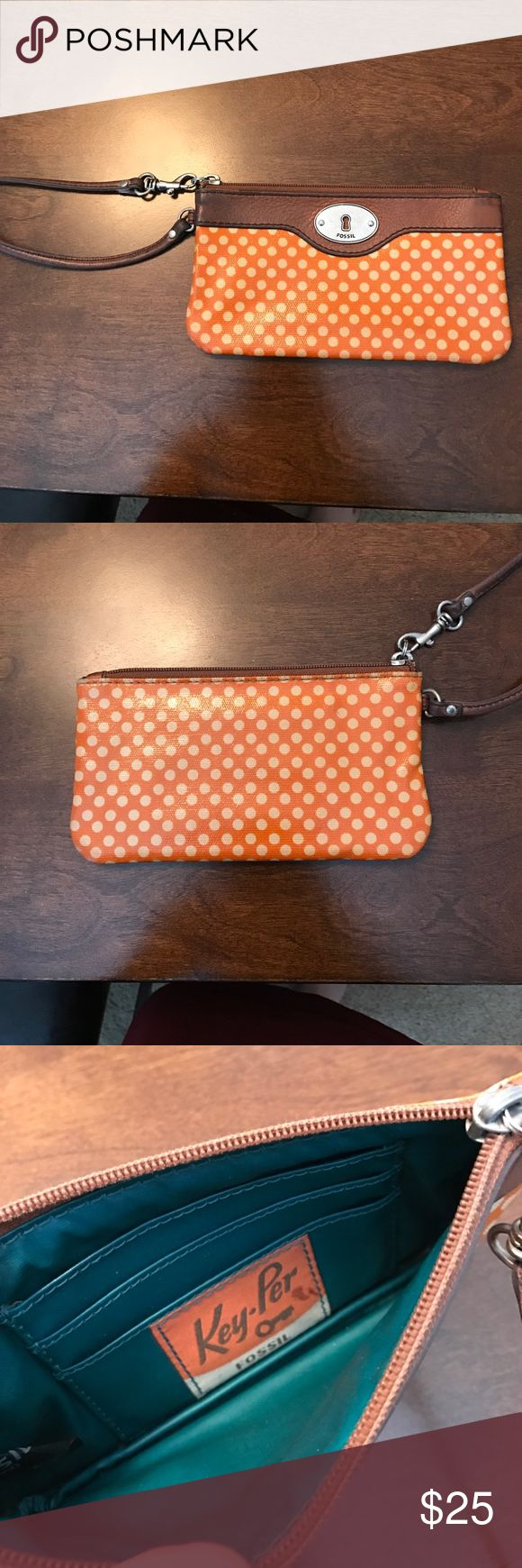 Fossil wallet wristlet Orange with cream polka dot wristlet! Interior holds 3 cards. Room for cash and phone. Great for a night out! Fossil Bags Clutches & Wristlets