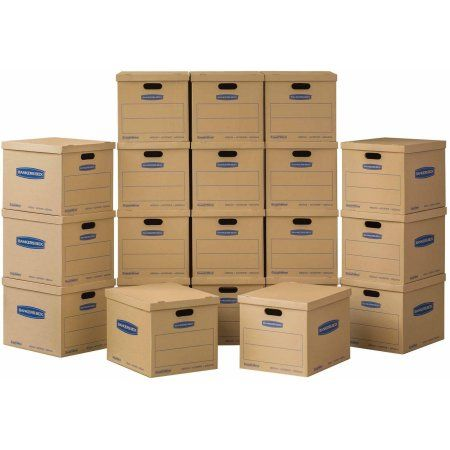 Bankers Box SmoothMove Classic Moving Boxes Medium 20pk (No Tape Required), Beige